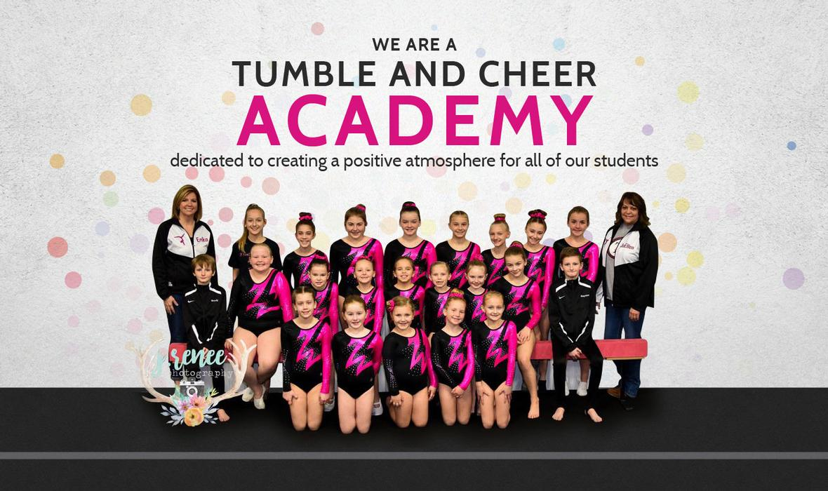 Banner picture of the Tumbling Team at Tumble n' Fly Academy in Taylorville, Illinois
